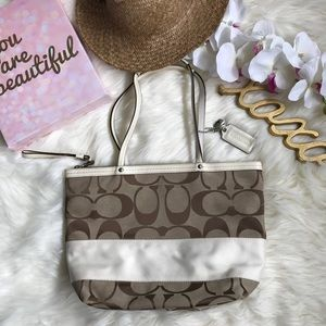 Coach Striped Purse- Brown with Cream Stripe